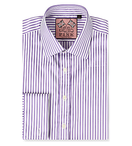 THOMAS PINK Algernon slim-fit double cuff shirt (Lilac/white