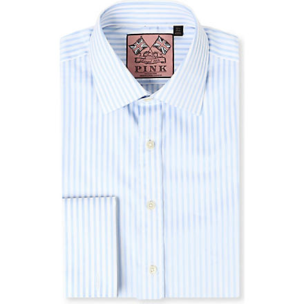 THOMAS PINK Algernon slim-fit double cuff shirt (Pale blue/white