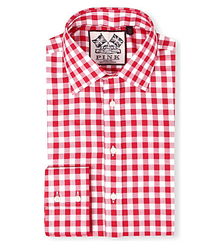THOMAS PINK Plato single-cuff gingham shirt (White/red