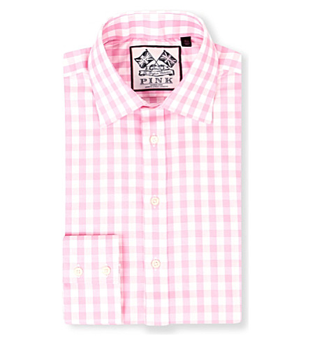 THOMAS PINK Plato single-cuff gingham shirt (Pink