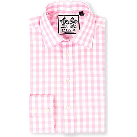 THOMAS PINK Plato single-cuff gingham shirt (White/pink