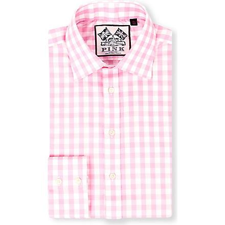 THOMAS PINK Plato single-cuff gingham shirt (White/pink