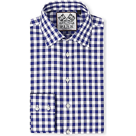 THOMAS PINK Plato single-cuff gingham shirt (Navy