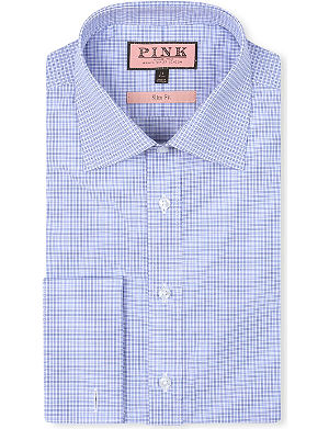 THOMAS PINK Salzburg checked slim-fit double-cuff shirt