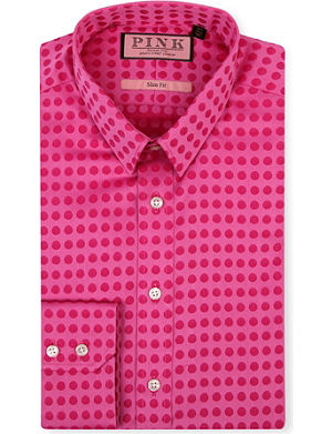 THOMAS PINK Polka-dot slim-fit single-cuff shirt