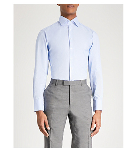 THOMAS PINK Hobson textured slim-fit cotton shirt (Pale+blue/white