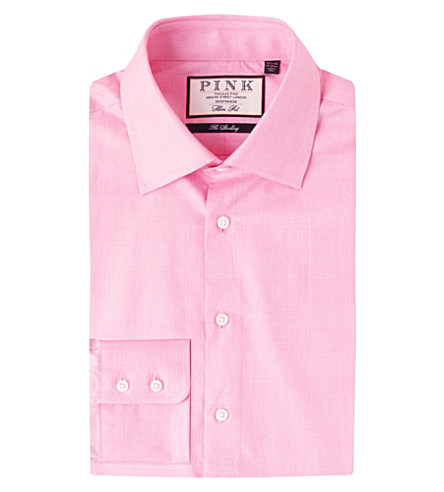 THOMAS PINK Anders checked slim-fit cotton shirt (Pink/white