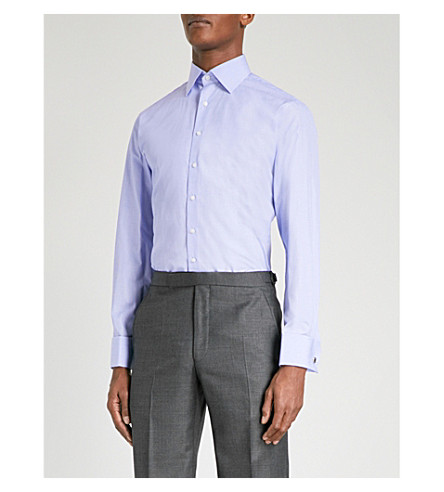 THOMAS PINK Oscar slim-fit cotton-poplin shirt (Blue