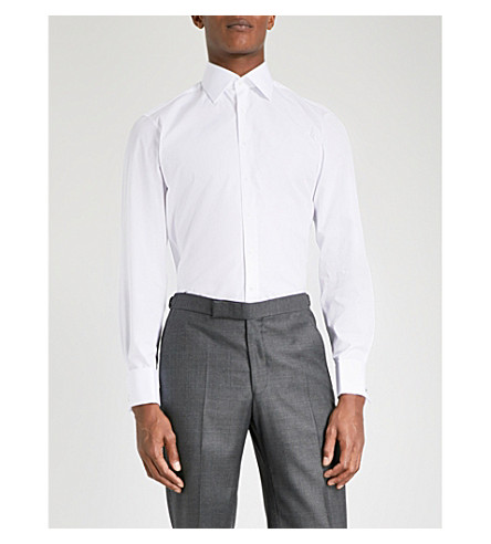 THOMAS PINK Oscar slim-fit cotton-poplin shirt (White