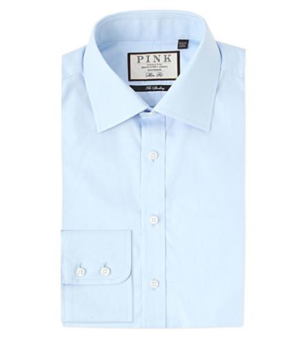 THOMAS PINK 弗雷德里克修身版型棉衬衫 (淡 + 蓝