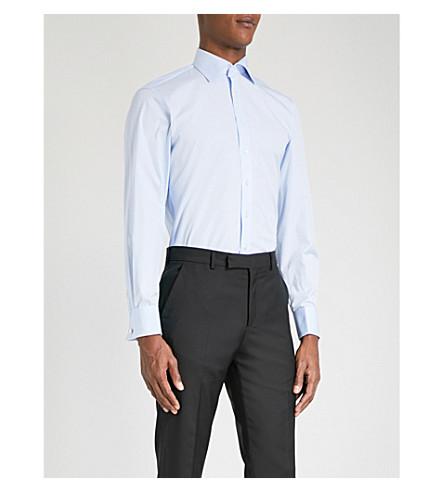 THOMAS PINK Frederick slim-fit cotton shirt (Pale+blue