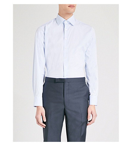 THOMAS PINK Rock athletic-fit cotton-poplin shirt (Pale+blue