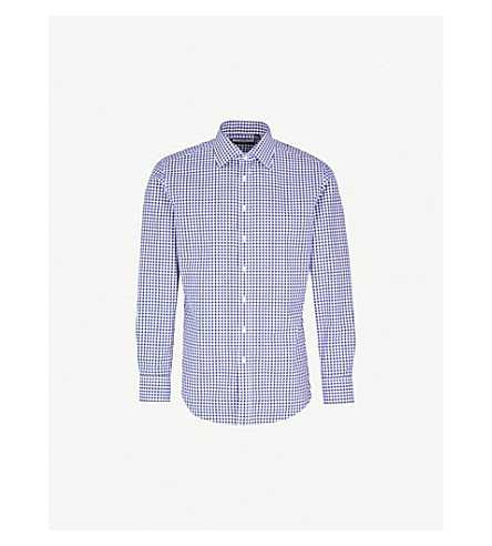 THOMAS PINK Summers checked slim-fit cotton-poplin shirt (Navy/white