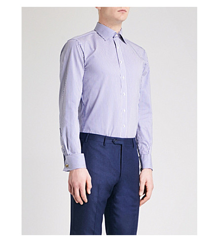 THOMAS PINK Grant striped slim-fit cotton shirt (Navy/white