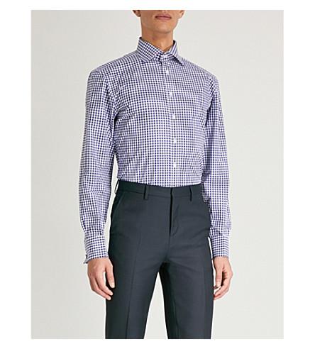 THOMAS PINK Summers gingham slim-fit cotton-poplin shirt (Navy/white