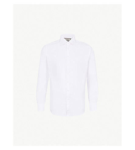 THOMAS PINK Timothy herringbone slim-fit cotton shirt (White