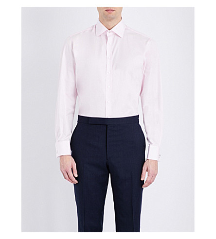 THOMAS PINK Dowson plain slim-fit cotton shirt (Pale+pink