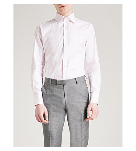THOMAS PINK Brompton checked slim-fit cotton shirt (Pale+pink/white