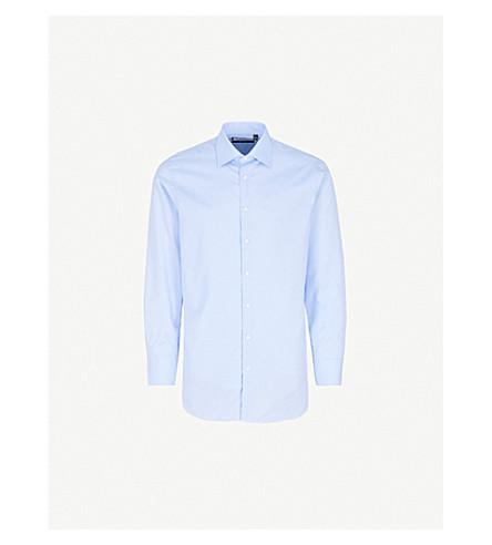 THOMAS PINK Shelton checked slim-fit cotton shirt (Pale+blue/white