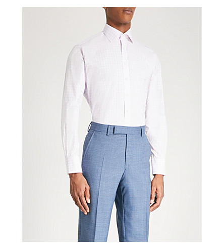 THOMAS PINK Benton checked slim-fit cotton-poplin shirt (Pale+pink/blue