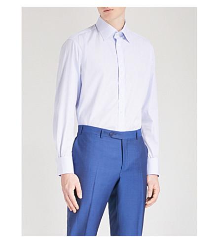 THOMAS PINK Nene slim-fit striped cotton-poplin shirt (White/blue