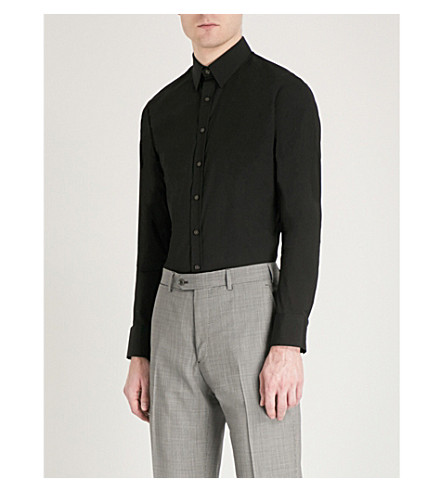 THOMAS PINK Freddie super slim-fit cotton-poplin shirt (Black