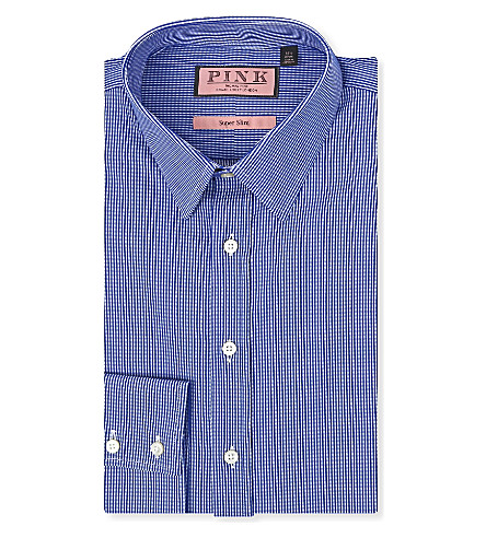 THOMAS PINK Lydiard super-slim single-cuff shirt (White/blue