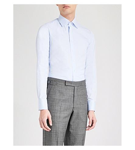 THOMAS PINK Frederick super slim-fit cotton-poplin shirt (Pale+blue