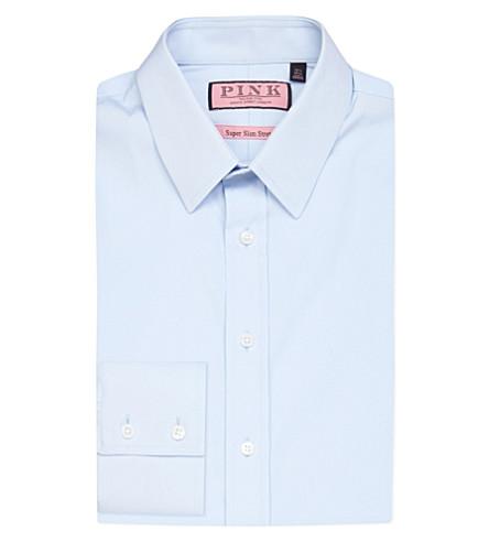 THOMAS PINK Freddie super-slim cotton shirt (Pale+blue