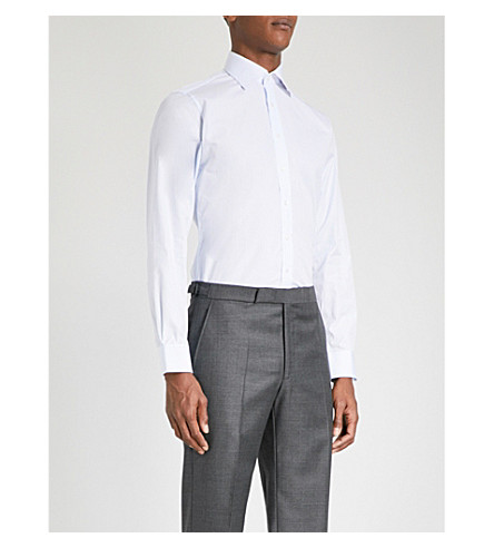 THOMAS PINK Striped super slim-fit cotton shirt (Pale+blue/white