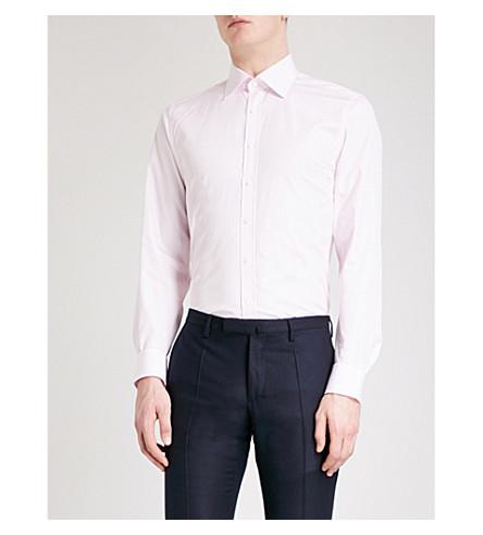 THOMAS PINK 亨利条纹超级修身版型棉衬衫 (苍白 + 粉红色/白色