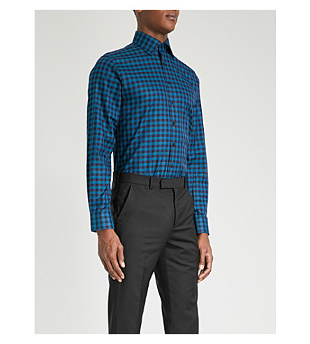 THOMAS PINK Checked super slim-fit cotton shirt (Teal/blue