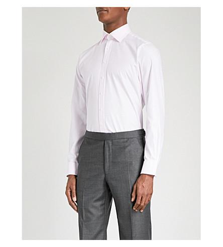 THOMAS PINK Checked super slim-fit cotton shirt (Pale+pink/white
