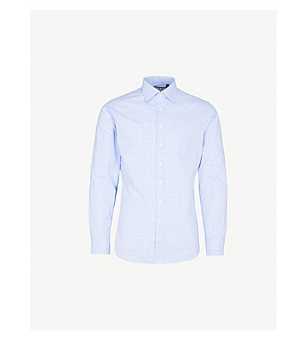 THOMAS PINK Greenwood checked super slim-fit cotton shirt (White/blue