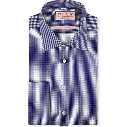 THOMAS PINK Johnson textured slim-fit double-cuff shirt (Navy