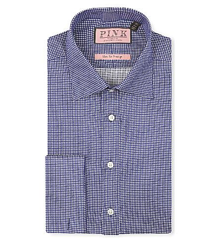 THOMAS PINK Johnson textured slim-fit double-cuff shirt (Navy