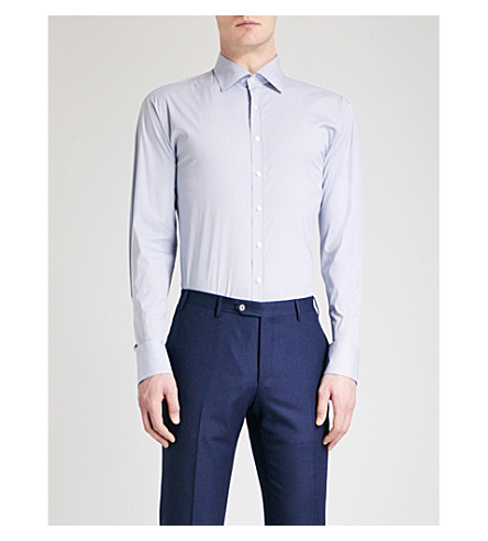 THOMAS PINK 方格运动合身弹力棉衬衫 (白色/蓝色