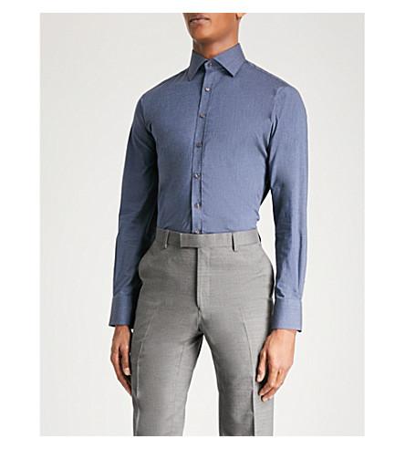 THOMAS PINK Trinity athletic-fit stretch-cotton shirt (Deep+blue
