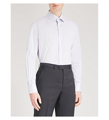 THOMAS PINK Conduit athletic-fit striped stretch-cotton shirt (White/blue