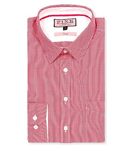 THOMAS PINK Longitude regular-fit single-cuff shirt (Red/white