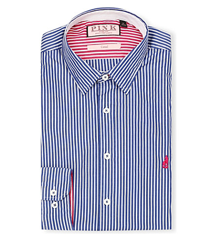 THOMAS PINK Latitude regular-fit single-cuff shirt (Navy/white