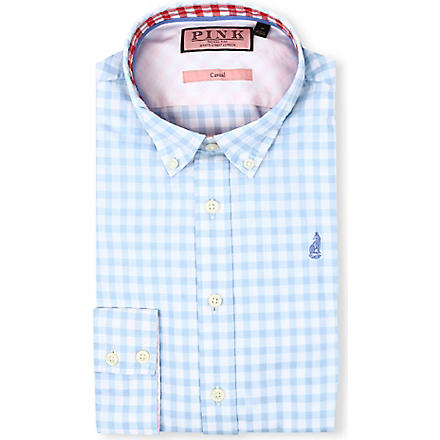 THOMAS PINK Malkin regular-fit single-cuff shirt (Blue/white
