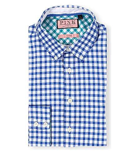 THOMAS PINK Malkin regular-fit single-cuff shirt (Pale blue/white