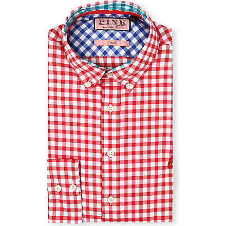 THOMAS PINK Malkin regular-fit single-cuff shirt (Red/white