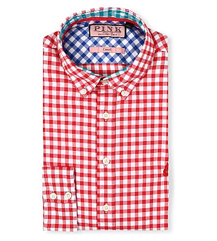 THOMAS PINK Malkin regular-fit single-cuff shirt (Red