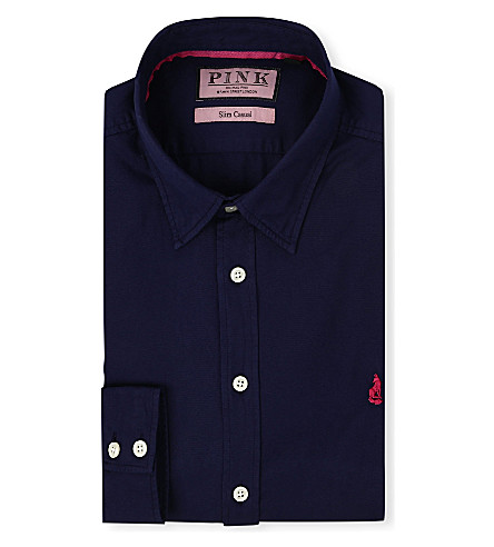THOMAS PINK Drake slim-fit single-cuf shirt (Navy