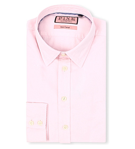 THOMAS PINK Drake slim-fit single-cuff shirt (Pale+pink