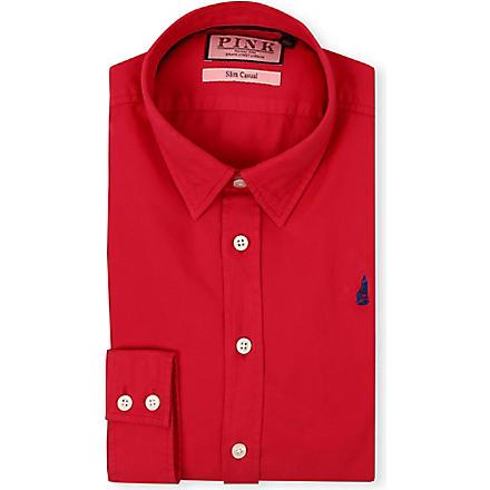 THOMAS PINK Drake slim-fit single-cuff shirt (Red