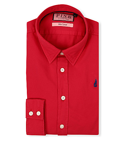 THOMAS PINK Drake slim-fit single-cuff shirt (Red