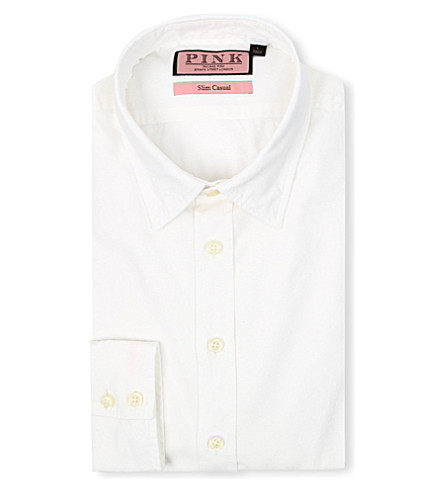 THOMAS PINK Drake slim-fit single-cuff shirt (White